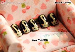 Wholesale Girl Fake Feet - Wholesale-24x Cat Face Foot Girl Acrylic Pre-Designed False Fake Nail Tips Short Z022