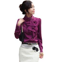 Camisa coreana on-line-Estilo coreano moda feminina desgaste do trabalho longo sopro manga gola plissado ruffle faux cetim blusa projetos camisa camisas chemise femme