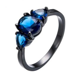 Wholesale Ring Stone For Male - Vintage Blue AAA Zircon Stone Rings For Female Male Black Gold Filled Wedding Party Engagement Heart Shape Ring Anillos