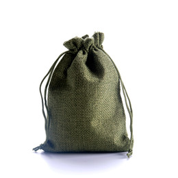 Wholesale jute jewelry wholesale - 100pcs lot 10*14cm Olive Green Jute Drawstring Gift Bag Incense Storage Linen Bag Cosmetic Jewelry Accessories Packaging Pouches