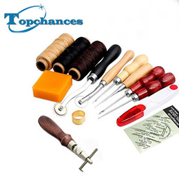 Wholesale Wax Hands - Wholesale-High Quality 14Pcs Set Leather Craft Hand Stitching Sewing Tool Thread Awl Waxed Thimble Kit free shipping
