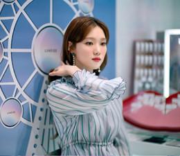 Wholesale Empire Waist Trumpet - 2017 summer Li Shengjing stars with the stripes, waist drawstring, lotus leaf, seven cents, trumpet sleeve, dress, female