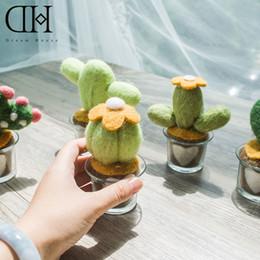 Wholesale Fleece Fabric Crafts - Original Dream House DH wool potted cactus miniature fleece cactus figurine fake plant craft christmas gift home deocoration