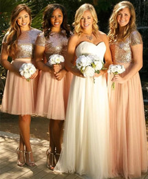 Wholesale Sequin Tulle Bridesmaid Dress - 2017 Vintage Rose Gold Two Pieces Bridesmaid Dresses Sequins Maid of Honor Dress Tulle Long Prom Party Gowns
