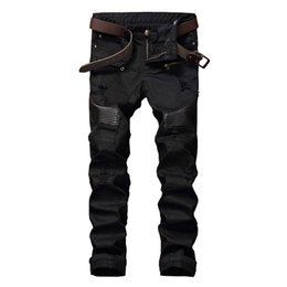 Wholesale Leather Pants Skinny Jeans - Wholesale- GMANCL Hi-Street Men Ripped Biker Jeans Pants Leather Patchwork Distressed Denim Slim Fit Straight Trousers Red White Black Je