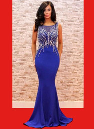 Wholesale Celebrity Gowns Sale - Hot Sale Mermaid Style Royal Blue Evening Dress Long Crystal Beads 2017 Elegant Red Carpet Celebrity Dresses For prom Great Gatsby Gowns