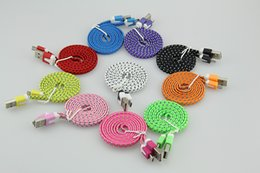 Wholesale Shield For Iphone 4s - Wholesale 1M 2M 3M Colorful Noodle Flat Fabric Braided USB Sync Charger Cable Cord For iPhone 4 4S iPad 2 3 500pcs lot