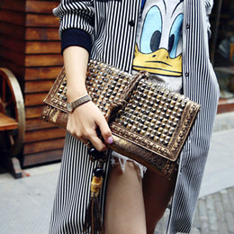 Wholesale Evening Shoulder Clutch Bag - Wholesale-Metal Leather Tassel Women's Bag Vintage Envelope Lady Clutch Bag Rivet Evening Bags Handbags Cross Body shoulder bag