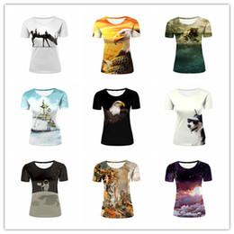 Wholesale Cool Swim Shorts - Hot Fashion Womens Cartoon Clouds Astronaut Cool Eagle Dog Swimming Tiger Galaxy Elk 3D Creative Printed Short Sleeve Casual T-shirts M582