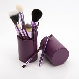 Wholesale Set Cheap Cups - 2017 Cheap wholesale 12 pcs Make Up Brushes Professional Brush Set Cylinder Cup Holder with case for women