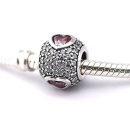 Wholesale Jet Beads Wholesale - Wholesale- Fit European Charms Bracelet 100% 925 Silver Pave Ball Beads Heart Charm with Clear & Fancy Pink CZ Jewelry Valentine's Day Gi