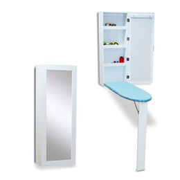 Wholesale modern board room - Wood Ironing Board Iron Cabinet Hang in The Wall Folding With Dressing Mirror Stock in USA