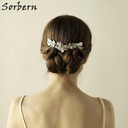 Wholesale Hair Wedding Korean Styles - Sorbern Korean Style Bridal Headpieces Women Hairpin Female Rhinestone Beautiful Flower Hair Comb Tiara Bridal Hair Wedding Accessories