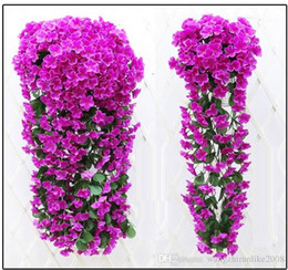 Wholesale Wedding Table Red Flower Decorations - Simulation hydrangea violet hanging flower of bracketplant of cane wisteria series fake flowers wedding decoration simulation flower vine