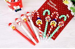 Wholesale Christmas Ball Pens - Cute Christmas Snowman Ball Pen Crutch Cartoon Christmas Santa Claus Ballpoint Pen Christmas Gifts Wholesale wen4361