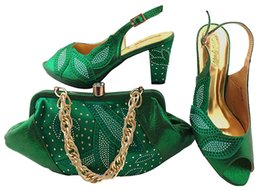 Wholesale Fashionable Dress Shoes - Fashionable green shoes match bags with rhinestones series african lady shoes and handbag set for dress MM1043,heel 8CM