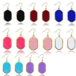 Wholesale Earring Resin Dangle - Chandelier Earrings for Women Geometric Golden Plated Dangles 8 Colors