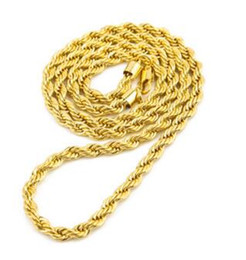 Wholesale Twisted Rope Chain Necklace Women - 18K Gold Plated Necklace 6mm coarse twist chain gold-plated twisted rope chain men and women necklace