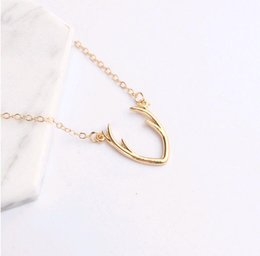 Wholesale Wholesale Antler Necklace - Korean Simple Fashion Jewelry Buckhorn Necklace Alloy Antler Pendant Gold Silver Short Clavicle Chain for Women Gift