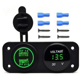 Wholesale Dc Motor For Car - DC 12V-24V LED Digital USB Voltmeter+Dual USB Power Socket Panel 2.1A 1A USB Charger for Car Boat Marine ATV Carvans Motor