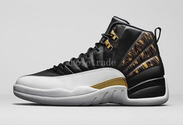 Wholesale Mens Stretch - Air Retro 12 Mens basketball shoes retro XII 12s WINGS in BLACK METALLIC GOLD-WHITE in top quality with free shipping