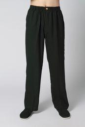 Wholesale Kung Fu Pants Black - Wholesale-Hot Sale Black Men's Cotton Linen Pants Chinese Traditional Wu Shu Trousers Male Kung Fu Pant Size S M L XL XXL XXXL P001