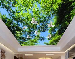 2019 céu azul fresco 3d papel de parede do teto para paredes do quarto personalizado 3d papel de parede para tetos frescos floresta de bambu céu azul 3d teto wallpapers para sala de estar céu azul fresco barato