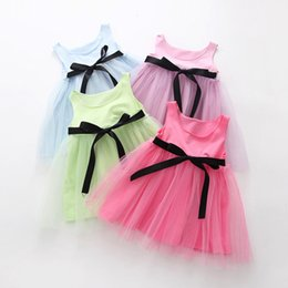 Wholesale Tulle Tutu Boutique - 2017 Girls Dress New Butterfly Tulle Baby Tutu Dresses Kids Boutique Clothing Candy Color Bow Belt Princess Toddler Dance Dress C684