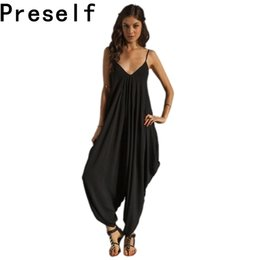 Wholesale Preself Summer Harem Romper Jumpsuit Coveralls Women s Beach Playsuit Spaghetti Strap Deep V Neck Plus Size S XL