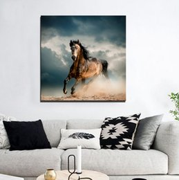 Wholesale Horse Abstract Wall Oil Paintings - HD Print A Horse Running Under The Clouds Frameless Painting Printd on Canvas Wall Art
