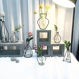 Wholesale Dried Flower Vases - The ins hot style dried flower vases creative iron art vase for the decoration of flowers