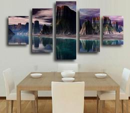 Canada 5 Pièce Toile Mur Art Cadre Imprimer Photo Salon Décor À La Maison Moderne Abstrait Montagne Coucher De Soleil Lever De Soleil Toile Art Peintures Offre