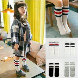 Wholesale Hand Knitting Socks - 2017 new children socks socks autumn and winter new South Korea three bar stripes cotton socks Hand knitting