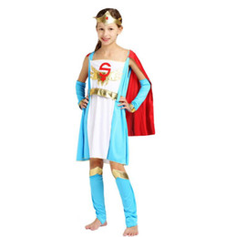 Traje faraó, rei on-line-Crianças Super Girl Princesa Eypt Tema Traje Elegante Rei Rainha Faraó Cosplay Roupas Set Halloween Carnaval Trajes de Fantasia Vestido