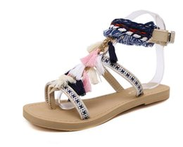 Wholesale Soft Eva Ball - free shipping! 2017 new Bohemia bandage with flower ball clip-toe women's sandals Summer beach flat students with foot sandals size 35-40