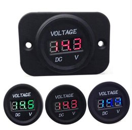 Wholesale Auto Accessories Display - LED Digital Display Panel Car Voltmeter Motorcycle Volt meter Red Blue Green Lights Guage 6V - 30V Auto Boat RV Accessories