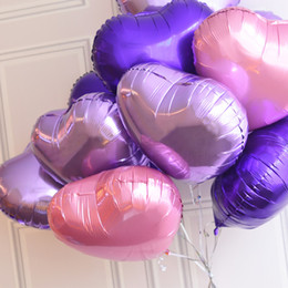 Wholesale Wedding Balloons Purple - Free Shipping 50 Pcs Lot 18 Inch Wholesales Party Decoration Helium Inflable Heart Shaped Wedding Aluminum Foil Balloon
