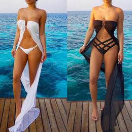 Wholesale Trendy Chiffon Dresses - Summer Trendy Long Chiffon Bikinis Cover up 2017 Beach Holiday Chiffon Dress and Underwear Sutis Swimwear New Style