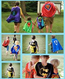 Capas super-heróis para crianças on-line-79styles Capes + Máscara Set Crianças Super heróis Supernan Cosplay Manto de Alta Qualidade Dupla-camada Capes de Festa de Halloween Dos Desenhos Animados Roupas Heroicas