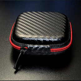 Wholesale Earphones Carry Case - Zipper Bag Earphone Cable Mini Box SD Card Portable Coin Purse Headphone Bag Carrying Pouch Pocket Case Cover Storage carbon fiber