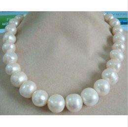 "Wholesale black pearls necklaces - HUGE 13-15MM SOUTH SEA GENUINE WHITE PEARL NECKLACE 18"" 14K GOLD CLASP"