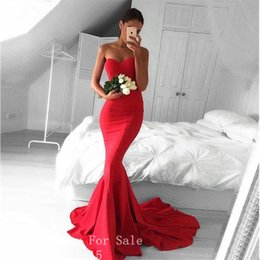 Wholesale Sheer Nude Color Dress - Red Color Long Evening Dresses 2017 Robe de Soiree Sexy Sweetheart Floor Length Mermaid Evening Dress Formal Prom Gowns