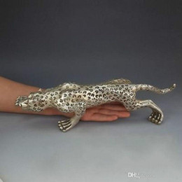 "Wholesale Evil Statue - 13.8""Silver Handmade Feng Shui Evil Animal Run Panther Leopard Art Statue"