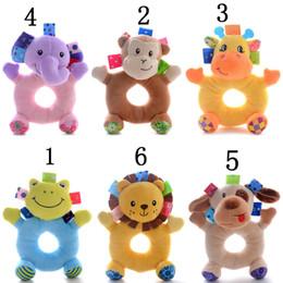 "Wholesale Play Zoo - Wholesale- 1pc Baby Rattles Cartoon Zoo Animals Rattles Handbell Infant Plush Educational Play Toys Dolls 6*4"" New 6 Styles #LNF"