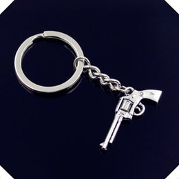 Wholesale Wholesale Assault Rifles - new-fashion-men-30mm-keychain-DIY-metal-holder-chain-vintage-machine-gun-assault-rifle-35-15mm key rings