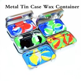 Wholesale Wholesale Tin Jars - New Arrival 4 in 1 Metal Tin Silicone Storage Kit Set with 2pcs 5ml Silicon Wax Container Oil Jar Base Silver Dab Dabber Tool Metal Case