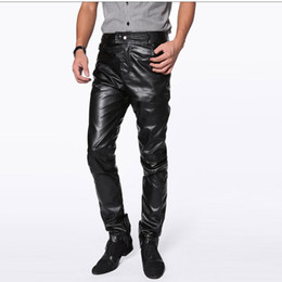 Wholesale Mens Bootcut Casual Pants - Wholesale- High quality men leather pants harajuku hip hop fashion mens motorcycle PU trousers zipper pantalones hombre plus size m-4xl