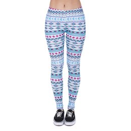 Wholesale Blue Aztec - Women Leggings Aztec 3D Graphic Print Lady Skinny Stretchy Pants Girls Sports Workout Tight Stretch Capris Yoga Sky Blue Trousers (J38450)