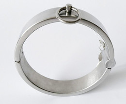 Wholesale Collar For Male Slave - Luxury Stainless Steel BDSM Slave Heavy Duty Collars Metal Bondage Restraint Female Male Neck Ring SM Sex Toys for Couples
