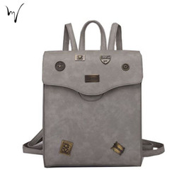 Wholesale Valentine Backpack - Korean Badge Cover Backpacks Hasp Ladies Large Bag PU Solid Fine Workmanship Package Leisure Schoolgirl Square Valentine Bags Large Factory